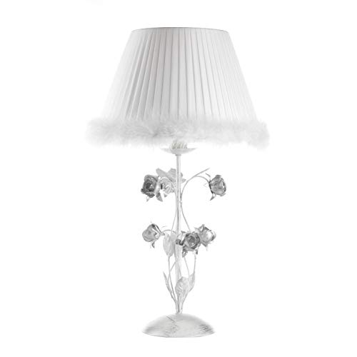onli Lampe de table métal argent et abat-jour blanc plissé avec plumes