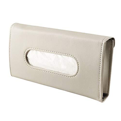 Auto Sonnenblende PU Papierhalter-Gewebe-Kasten hängend Leder Clips Tissue Organizer-Kasten-Serviette-Kasten for Auto (Color Name : Beige)