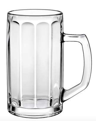 Borgonovo 12001420 Brema Ottica Bierseidel, Bierkrug, Bierglas, 360ml, mit Füllstrich bei 0.3l, Glas, transparent, 6 Stück