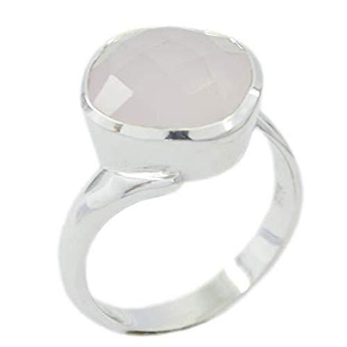 riyo handgefertigter 925er-Sterlingsilber-eleganter echter Ring, Rosenquarz-Edelstein-Silberring