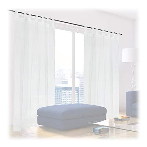 Relaxdays Gardinen 2er Set, HxB: 225x140 cm, halbtransparente Vorhänge, Wohn- & Schlafzimmer, Schlaufengardinen, weiß