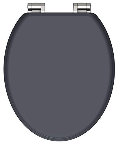 SCHÜTTE SPIRIT WC Sitz Holzkern, Toilettensitz mit Absenkautomatik, passend für alle handelsüblichen WC-Becken, maximale Belastung der Klobrille 150 kg, Anthrazit 80104