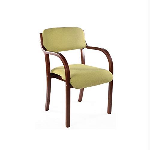 PLL Stoel, eetkamerstoel, eenvoudige losse bureaustoel, armleuningstoel, computerstoel, creatieve houten stoel, groen kussen