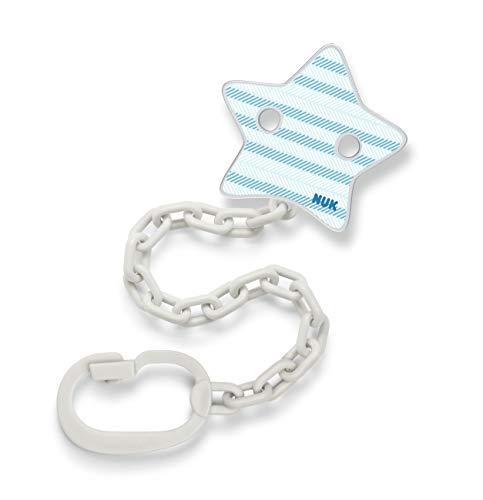 NUK Schnullerkette mit Schnuller-Clip | für Schnuller mit Ring | robust und bruchsicher | blau mit Stern