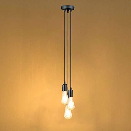 Oursun Pendelleuchte Schwarz 3 Flammig Hängeleuchte Vintage Retro Hängelampe Industrial Deckenleuchte Hängend mit E27-Fassung ohne Leuchtmittel