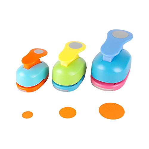 Circle Punch 3/8+5/8+1inch?8mm+16mm+25mm?Craft Lever Punch Handmade Paper Punch Candy Color by Random?3 Circle?
