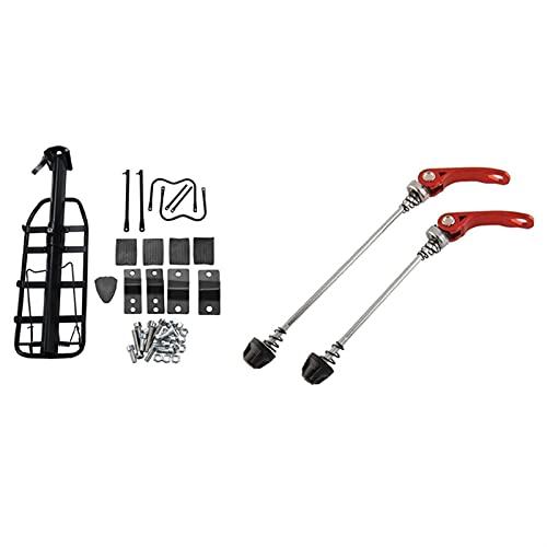 XIEJING Cycling Wheel Hub,Lock Skewers 2 Set Bicycle Accessories: 1 Set Bicycle Luggage Carrier Bike Rack & 1 Set 145/185 Mm Road Mountain Bicycle Wheel Hub Bicycle Skewers (Color : Black Red)