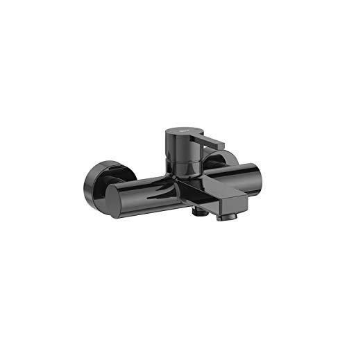 Mezclador grifo monomando exterior baño ducha con inversor automático, serie Naia, 21,5 x 21,5 x 17,6 centímetros, color negro titanio (Referencia: A5A0296CN0)