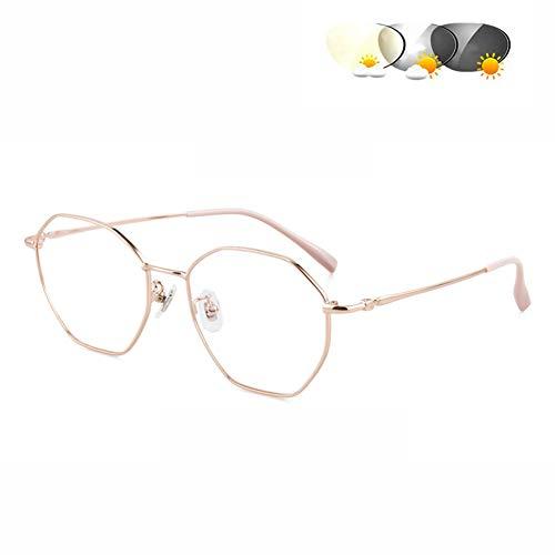 HQMGLASSES 2019 Vintage-Transition Sun Photochromic Lesebrille, Männer Frauen einstellbar Vision Mit Multifocal Progressive Glasse Dioptrien +1,0 bis + 3,0,Gold,+1.0