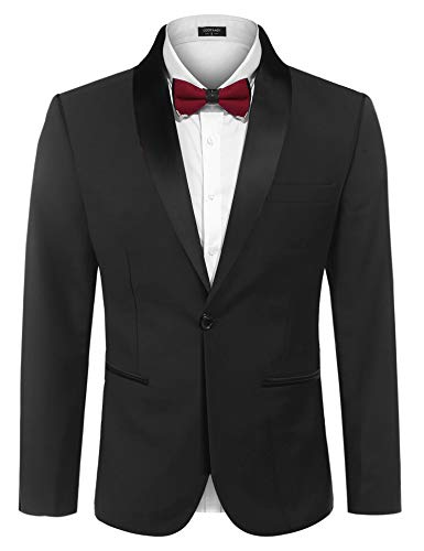 COOFANDY Men's Slim Fit Tuxedo Jacket Casual Wedding Suit One Button Dress Blazer for Dinner,Prom,Party Black