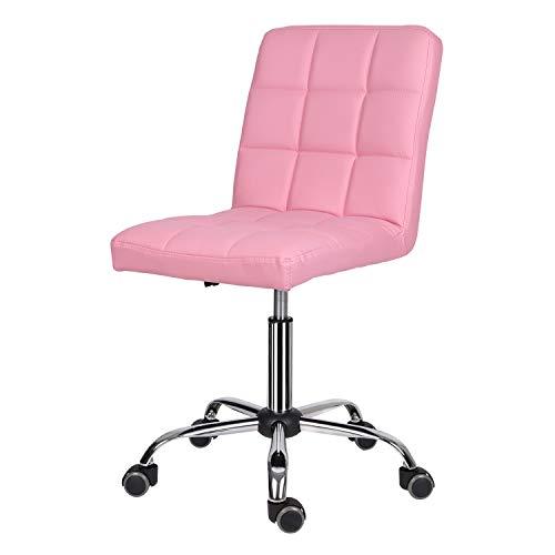 EUCO Chaise de bureau en cuir rembourrée, confortable, réglable en hauteur et pivotante pour domicile et bureau Noir/gris/blanc/rose, Imitation cuir, rose, No armrest(Mediumback-37cm)