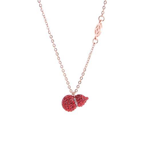 chenyou Collar con colgante de acero de titanio corto y simple con diseño de calabaza, color rojo
