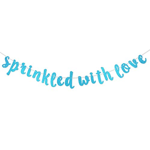 Sprinkled with Love Blue Glitter Banner Sign for Baby Sprinkle,Baby Shower Decorations (Blue)