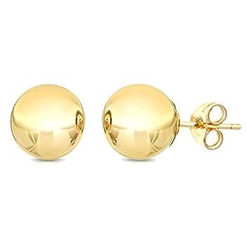 14K Yellow Gold Ball Stud Earrings 10mm