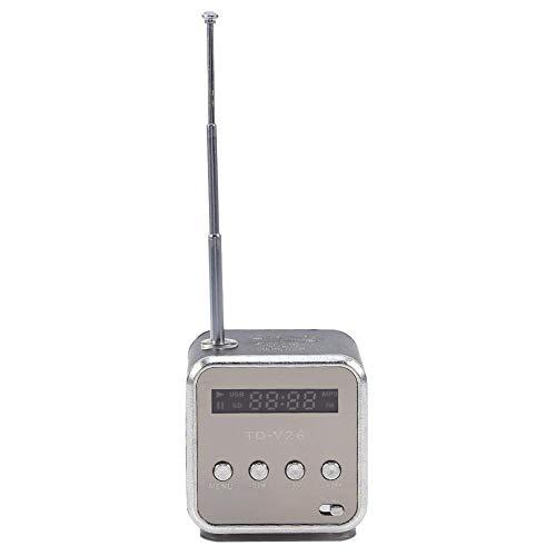 eboxer-1 FM Radio Stereo Mini Music Player, Stereo Mini Speaker Light-Weight Music Player Built-in 600Mah Battery Speaker Mini Speaker, Sports Dorm Room for Car for Home(Black)