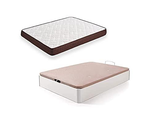 HOGAR24 ES Cama Completa - Colchón Viscobrown Reversible + Canape Abatible de Madera Color Blanco, 135x190 cm