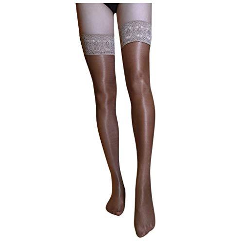 Sylar Medias Mujer con Encajes Transparente Medias Autoadhesivas Color Sólido Medias de Compresión Ligera Mujer Lencería Sexy Calcetines Largos para Mujer