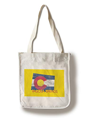 Lantern Press Pagosa Springs, Colorado - Colorado State Flag - Rustic Painting - Contour 101302 (100% Cotton Tote Bag - Reusable)