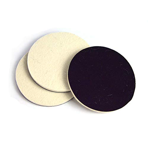 5 Inch (125mm) Wool Felt Polishing Pad Hook and Loop Compressed Woolen Wheel Buffing Pads for Car & Boat Polishing, Waxing, Sealing, Pack of 3