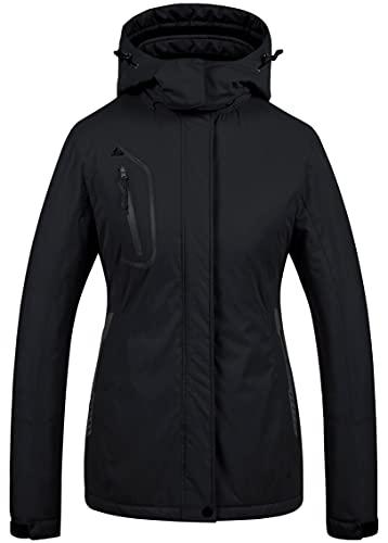 Chaqueta de esquí impermeable de montaña para mujer Abrigo de nieve de invierno cálido Chaqueta de snowboard a prueba de viento Parka Chaqueta de lluvia Negro L