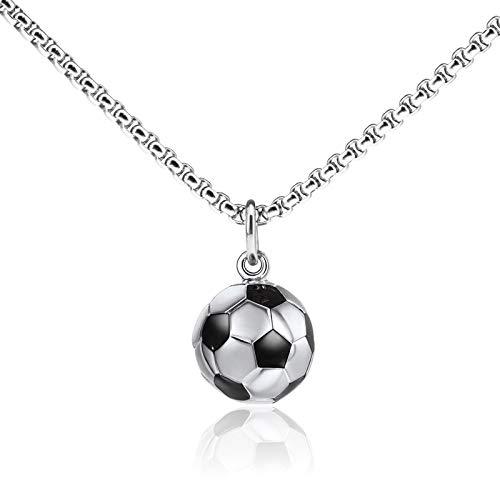 Create idea Halskette mit Fußball-Anhänger, Edelstahl, für Jungen und Mädchen, Sportler, Unisex, einzigartiges Geschenk, 60 cm