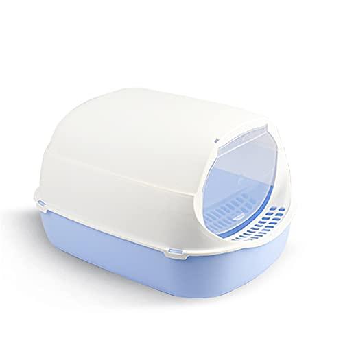 Jianghuayunchuanri Inodoro con Bandeja de plástico para Gatos Caja de la Caja de Arena de Gato con Tapa, casa con diseño Minimalista Moderno Interior y Exterior (Color : Blue, Size : 32x42x27cm)