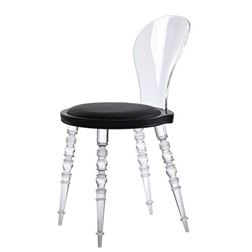 Transparenter Hocker Haushalt Rückenlehne Kristall Stuhl Licht Esszimmerstuhl Ghost Chair Make-Up Stuhl,A