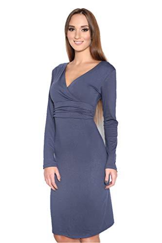 OxydCollection dames wikkeljurk jurk jurk jurk jurk tuniek cocktailjurk lange mouwen V-hals maat 36 38 40 42, 8130 grafiet 2XL/3XL