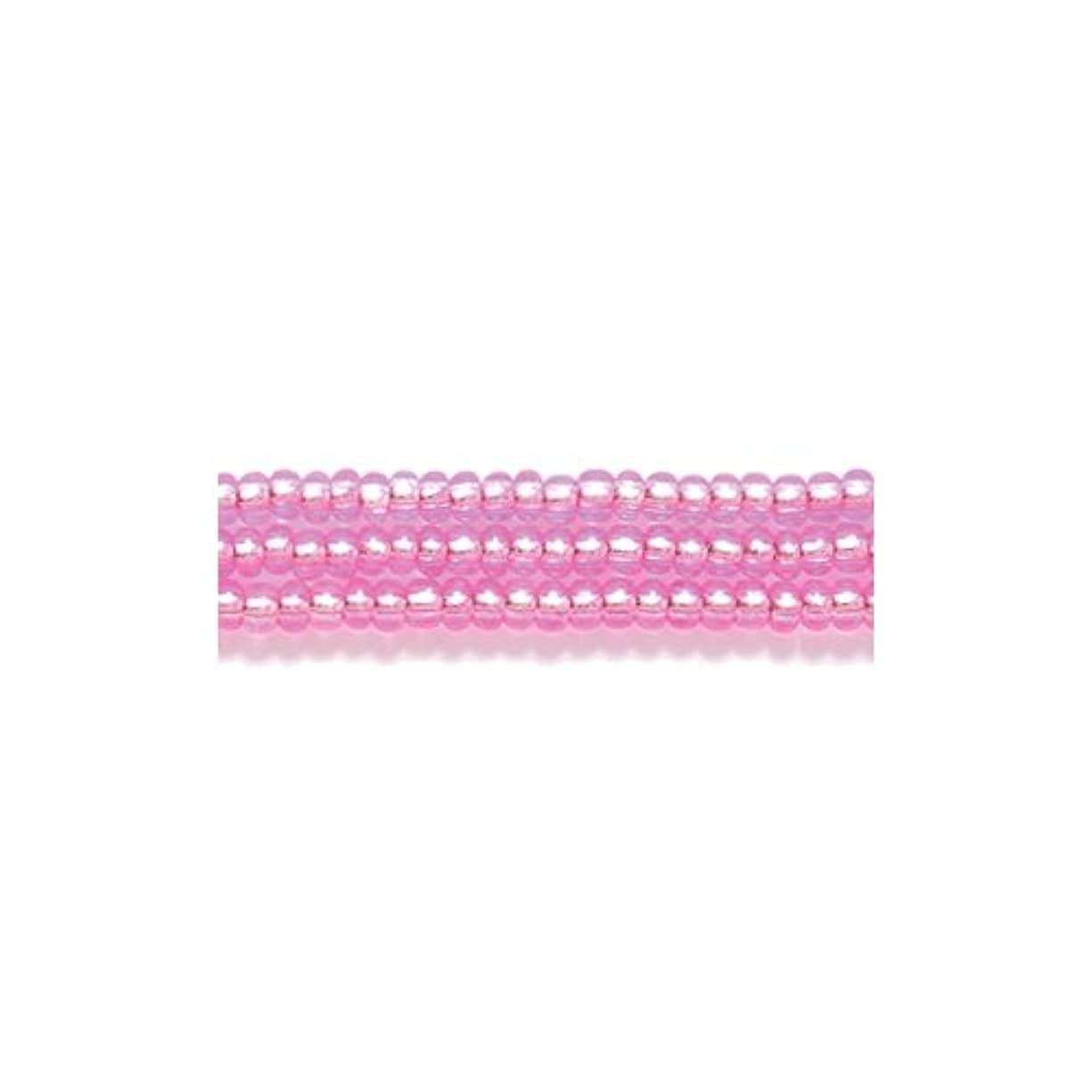 Preciosa Ornela Czech Seed Bead, Silver Lined Dyed Dark Pink Round Hole, Size 11/0