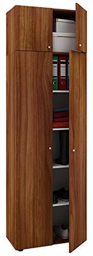 """VCM Schrank Universal Mehrzweckschrank Dielenschrank Holz Kern-nussbaum 218 x 70 x 40 cm \""""Vandol\"""" Auswahlmöglichkeiten"""