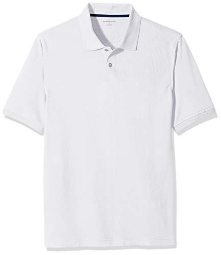 Amazon Essentials Men's Regular-Fit Cotton Pique Polo Shirt, White, X-Large Cotton Business Men Casual Shirt