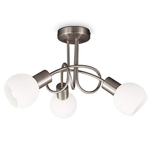 B.K.Licht Plafoniera LED con 3 faretti e paralumi in vetro, incluse lampadine E14, luce calda 3.000K, 3x5W, 3x470Lm, diametro 39.3cm