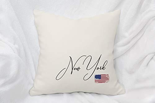 Almohada de Nueva York, regalo de decoración de la ciudad de Nueva York, almohada de estado del hogar, bandera americana, almohada de recuerdo de país de Nueva York, manta de Nueva York