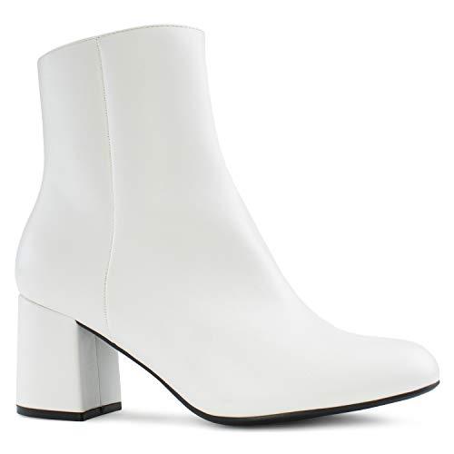 RF ROOM OF FASHION Women's Wide Width Block Heel Ankle Boots- Plus Size Friendly WHITE PU Size.10