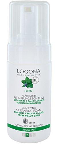 LOGONA Naturkosmetik Klärender Reinigungsschaum, Wirkt effektiv & ausgleichend, Mizellentechnologie nimmt Make-up besonders sanft von der Haut, Vegan, 100ml