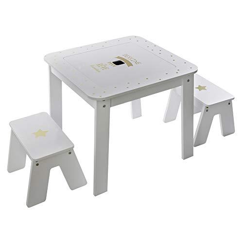 Atmosphera - Table de Jeux avec Rangement et Plateau Réversible + 2 Tabourets pour Chambre d'enfant