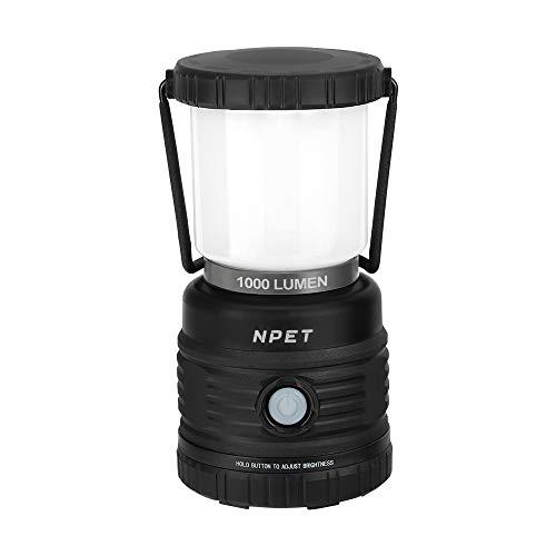 NPET LEDランタン 1000ルーメン 4つ点灯モード 昼白色と電球色 防水仕様 キャンプ 登山 釣り 非常用 防災用品 応急