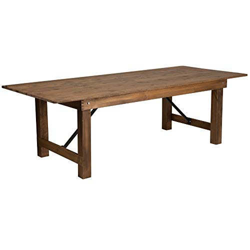 "Flash Furniture HERCULES Series 8' x 40"" Rectangular Antique Rustic Solid Pine Folding Farm Table"