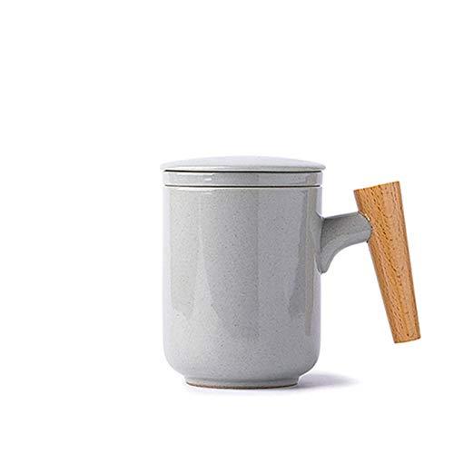 Taza de café de cerámica Blanco 300ml Taza de cerveza de la leche de la leche con la taza de té de la manija de madera Taza de agua con el filtro Home Office Webware ( Capacity : 300ML , Color : C )
