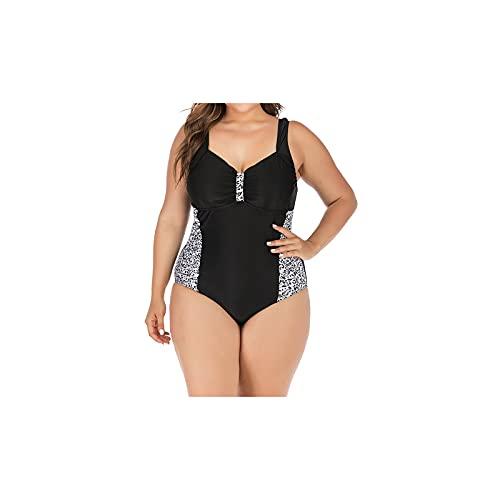 Kfhfhsdgsansyz Bañadores Mujer, Big Tamaño Traje de baño Sexy Mujer Alta Playa Playa Conjunto Completo Traje de baño Traje de baño Impreso para Mujer Grande (Color : Black Spots, Size : XXL)