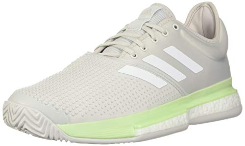 adidas Women's SoleCourt Boost Tennis Shoe, Glow Green/White/Grey, 11 M US