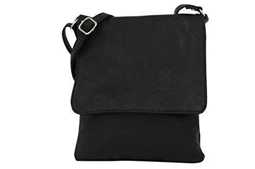 AMBRA Moda Italienische Ledertasche Schultertasche Crossover Umhängetasche Nappaleder Damen Kleine Tasche NL602 (Schwarz)
