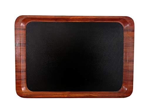 Staab 's Gastro Bandeja rectangular negro de caoba con superficie antideslizante, bandeja camarero,...