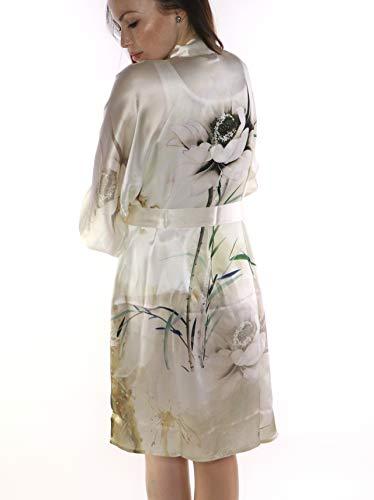 prettystern Damen Knie-lang Seide Kimono Wickel-Kleid Morgenmantel Robe Floral Creme-weiß Elfenbein SK04