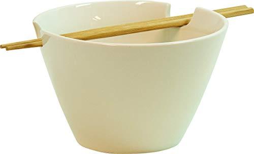 JADE TEMPLE Suppenschale aus Keramik im asiatischen Stil mit Essstäbchen aus 100% Bambus, Ideal für Suppen- und Nudelgerichte, (1x Schale mit 1x Paar Essstäbchen)