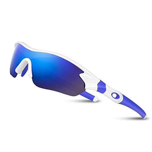 Bea Cool Sportbrille Sonnenbrille Herren, Polarisierte Sport Brille mit UV400 Schutz TAC Sportsonnenbrille PC Rahmen für Radfahren, Laufen, Outdoor-Aktivitäten (Weiß blau)