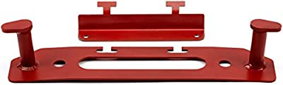 WARN 102300 Winch Accessory: Hook Stay and Fairlead Backing Plate with License Plate Mounting Bracket for Jeep Gladiator JT & Wrangler JL, Red