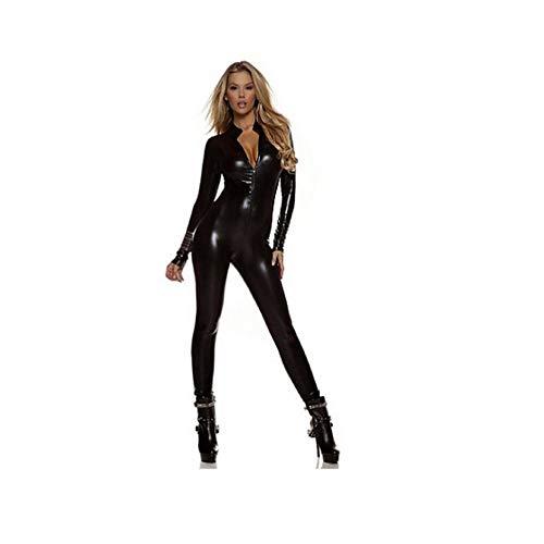 Mujeres Latex Wetlook PVC Sexy Black Fashion Tights Mono Cosplay Anime Trajes de Escenario Lencería de Cuero Latex Catsuit Party-Black-XXL