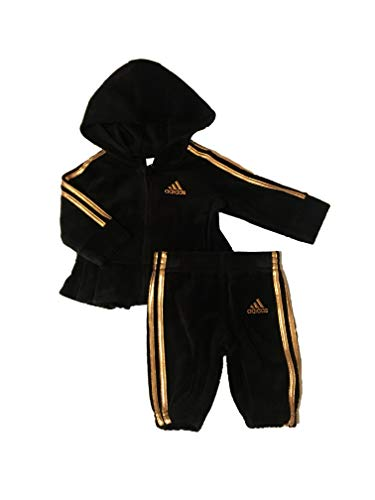 adidas Infant Girls' Velour Hoodie and Pant Set Black 12 Months