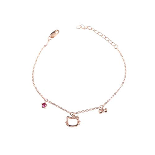 S&RL Ladies Decorative Bracelet , S925 Sterling Silver Bracelet, Cat Bracelet, Student Women Heart, Cat Bracelet, Rose Gold, 925 Silver